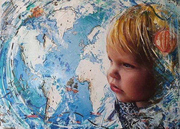 Primero pintó a Pampita y le regaló el cuadro, ahora va por Mirko