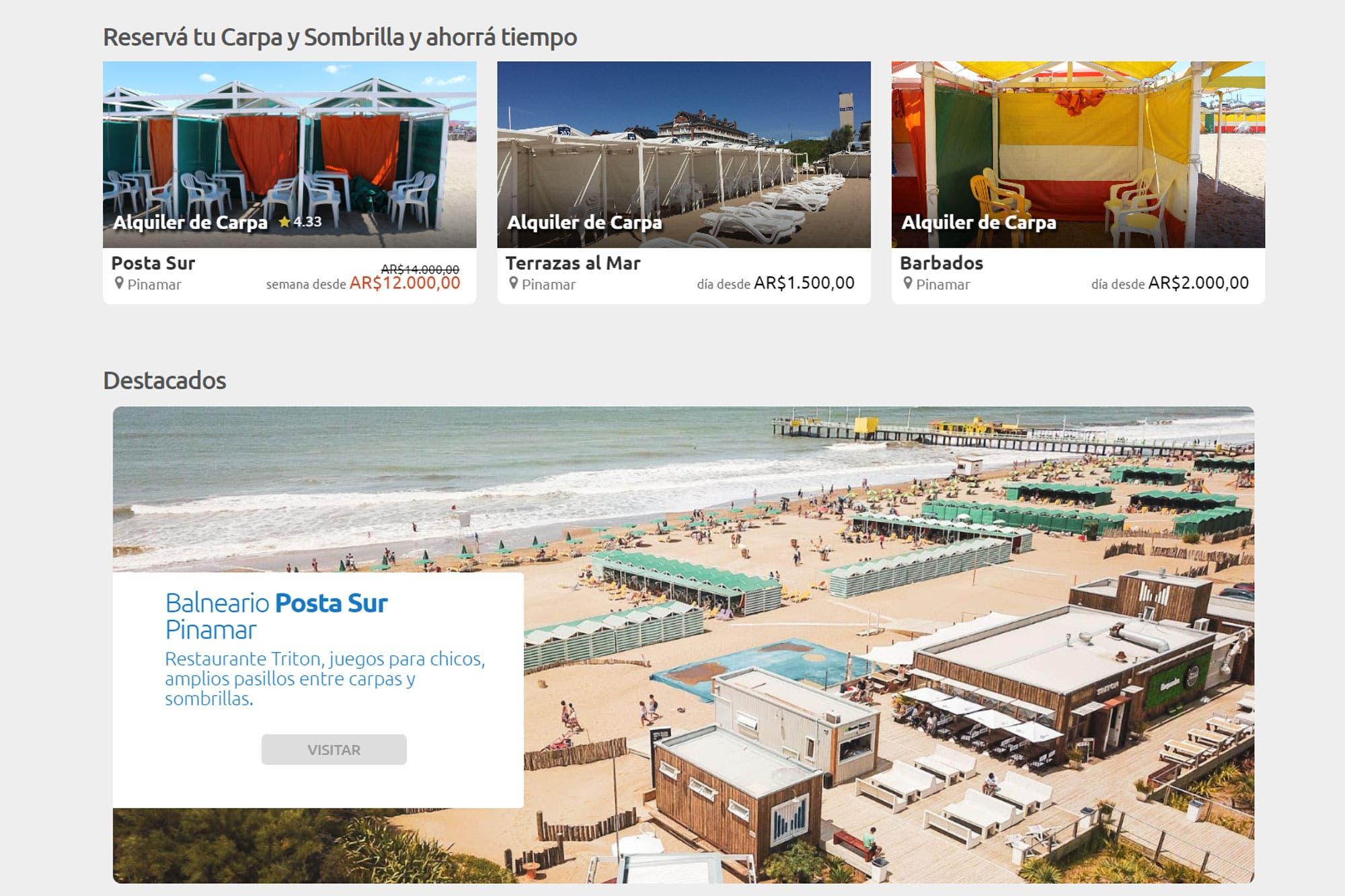 Verano 2021: cómo reservar carpas de los balnearios argentinos desde el living de tu casa