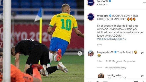 """richarlison-metio-un-hat-trick-en-30-minutos-para-brasil-en-los-juegos-olimpicos,-pero-leo-paredes-no-se-olvida-de-la-copa-america:-""""¿y-en-la-final?"""